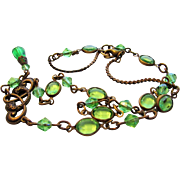 Vintage Nouveau Brass And Green Crystal Necklace With Green Crystal Drop