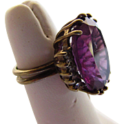 Sterling Silver Vintage Ring With Simulated Alexandrite and Clear Crystals