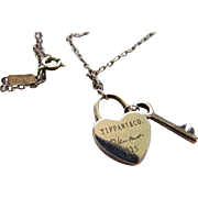 Tiffany Sterling Silver Elsa Peretti Heart Lock and Key Necklace