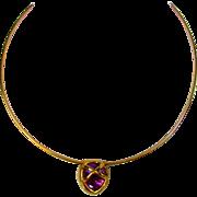 Vintage Joan Rivers Goltone Slide Necklace With Goldtone Faux Jeweled  Slide