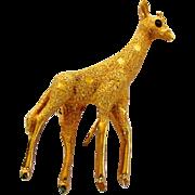 Vintage BSK Petite Giraffe Pin in Goldtone With Faux Ruby Crystal Eye