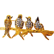 Vintage Joan Rivers Birds  on a Branch in Goldtone and Rhinestones