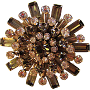 Vintage Crystal Pin With Smoky Tone Baguettes and Clear Round Crystals