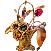 Sterling Silver Rose Gold Wash Basket Pin With One Unbacked Rose Crystal and Three Pastel Accent Crystals