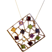 Sterling Silver Gem Covered Pendant on a Sterling Silver Chain