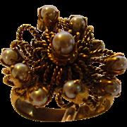 14 Karat Yellow Gold Mid Century Cultured Pearl Ring
