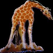 Vintage Enamel on Copper Giraffe Pin