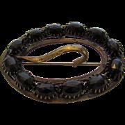 Victorian C-Clasp Black Bead Sash Pin