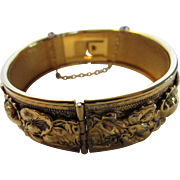 Vintage Sandor Goldtone Bangle With Repousse Work All Around