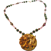 Vintage Rose Quartz and Jade Necklace With Beautiful Center Medallion