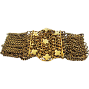Vintage Hand Worked Goldtone Filagree Bracelet With Star Accents