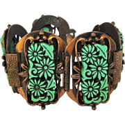 Vintage Mid Century Copper Bracelet With Carved Lucite Flower Panels