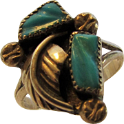 Sterling Silver Ring With Carved Turquoise Accents