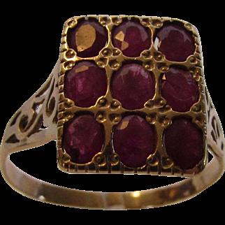 14 Karat Yellow Gold Deco Ruby Ring