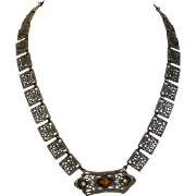 Vintage Rhodium Deco Necklace With Faux Citrine Centerpiece