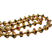 Sterling Silver Vermeil Beads Inset With Rubies and Emerald Gemstones