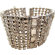 Vintage Rhinestone Bracelet Featuring Round and Baguette Crystals