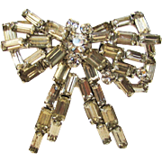 Vintage Crystal Baguette Bow Pin