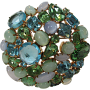 Vintage Shades of Blue and Green Crystals in Various Hues and Various Shapes