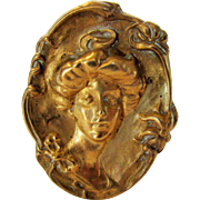 Vintage Nouveau Copper Pin Depicting A Beautiful Lady with C Clasp