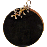 14 Karat Yellow Gold Diamond and Onyx Pin or Pendant