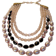 Vintage Four Strand Necklace With Unusual Combination of Cut Crystals, Art Glass Beads and Faux Pink Tone Pearls