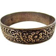 Sterling Silver Bangle Embossed All Around in Floral Theme