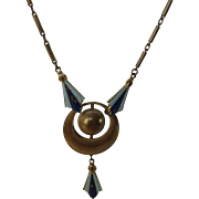 Vintage Deco Necklace and Hanging Pendant in Goldtone and Blues