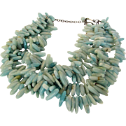 Vintage Larimar Bead Necklace With Sterling Clasp