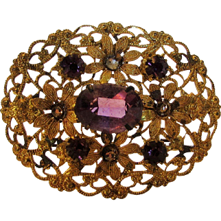 Vintage Goldtone Filagree Pin With Faux Amethyst Crystals