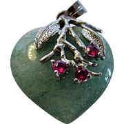 Sterling Silver Jadite and Ruby Heart Pendant
