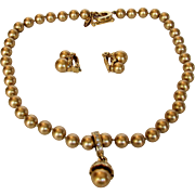 Vintage Carolee Faux Golden Pearl Necklace and Matching Clip Earrings
