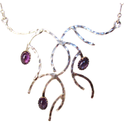 Sterling Silver Unique Amethyst Necklace in Abstract Design