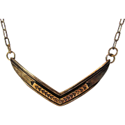 Sterling Silver and 14 Karat Yellow Gold Pendant on Sterling Silver Chain Necklace