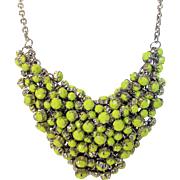 Vintage Mid Century  Mesh Necklace With Lime Green Encased Lucite Beads