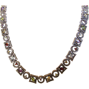 Sterling Silver Marasite Gemstone Necklace Including Garnet, Peridot, Topaz, Amethyst and Citrine