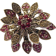 18 Karat White Gold Articulated and Spinning  Ruby and Diamond Flower Ring