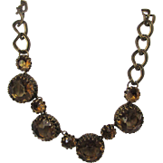 Vintage Mid Century Necklace and Matching Clip Earrings Set in  Smokey Quartz Crystals in Goldtone