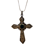 Sterling Silver Marcasite Cross With Green Enamelled Center on a Sterling Silver Italian Chain by Milor