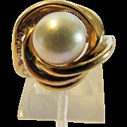 14 Karat Yellow Gold Cultured Pearl Ring