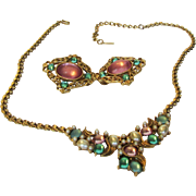 Vintage 1928 Necklace and Matching Clip Earring Set in Pastel Faux Gems and Faux Pearls