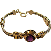 Sterling Silver and 18 Karat Yellow Gold Amethyst Bracelet