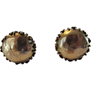 Vintage Miriam Haskell Clip Faux Pearl Button Earrings