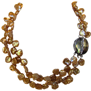 Golden Keshi Cultured Pearls With Silver Tone Mother Of Pearl and CZ Clasp/Focal