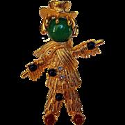 Vintage Designer Bejewelled Scarecrow in Goldtone Signed JBK by Camrose and Kross