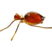 Vintage Goldtone Amber Body and Amber Head Bug Pin