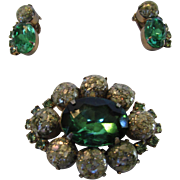 "Vintage Mid Century ""Confetti"" Stone Pin and Earring Set  With Large Green Crystal Accent"