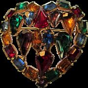 Vintage Multi Color Crystal Heart Pin