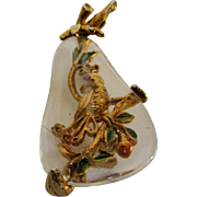 Vintage Lucite Pear With Partridge in a Pear Tree Inside Pin