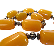Massive Amber Beads With Sterling Clasp and Findings